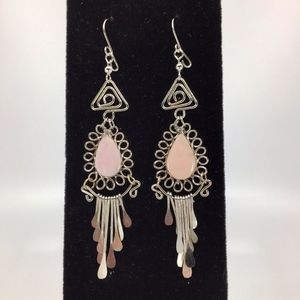 Peruvian Pink Opal Alpaca Silver Earrings
